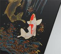 会津塗祝い絵 鯉の滝のぼり